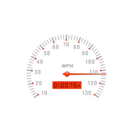 Speedometer gauge, car speed dashboard odometer, vector gage scale dial counter. Speedometer with mph speed red arrow and total mileage meter or gauge LED indicator