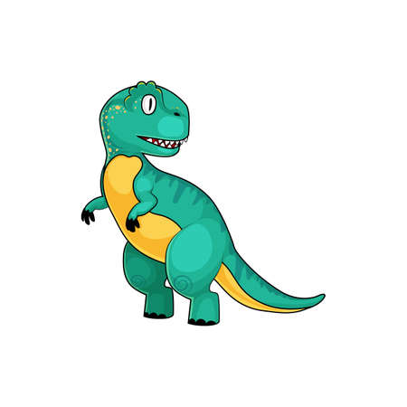 T-rex green dinosaur isolated cartoon Tyrannosaurus. Vector theropod dino animal, parasaurolophus full length animal with short front legs. Prehistoric extinct animal, robot dinosaur gigantic model