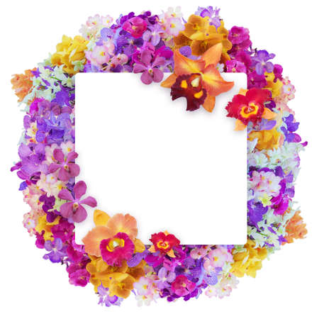 orchids: Progettare un sacco di orchidee in forma di palla con carta bianca isolato su sfondo bianco