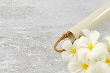 Plumeria flowers and ceramic vase isolated on white wood texture background photo