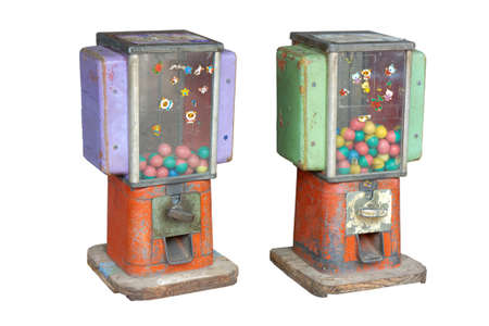 Vintage Gumball Machine collection many view on white background photo