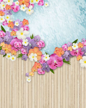 Plenty colorful flowers overlap between bamboo floor and clear water photo
