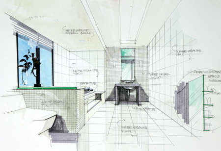 kitchen shower: interior sketch by pencil and pen color free hand sketch of bath room design