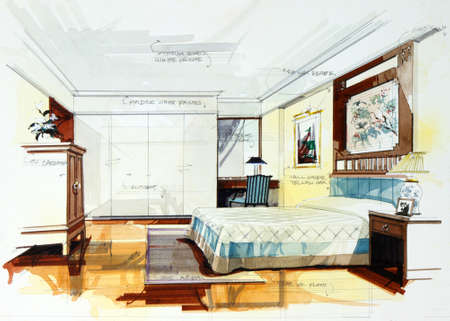 furnishing: interior sketch bedroom by pencil and watercolor