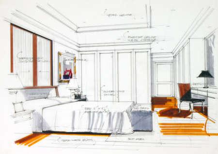 schets: interieur schets met potlood en pen kleur vrije hand schets van een master bedroom