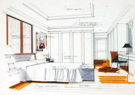bedroom interior: interior sketch by pencil and pen color free hand sketch of a master bedroom