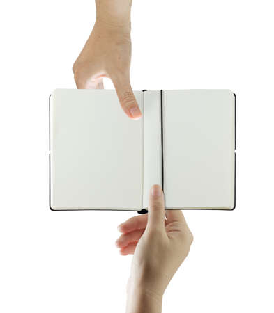 Hand holding and sending a book with blank to another hand on white background Stock Photo - 10372638