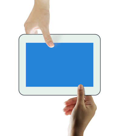 another: Female hands sharing a touch screen tablet with blank to another hand on white background