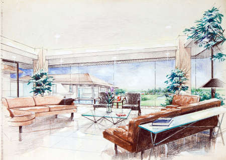 living room design: interior sketch by color pencil free hand sketch of a living room