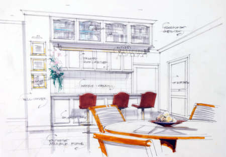 kitchen cartoon: Esbozo interior de esbozo de manos libres de color de pluma y l�piz de una despensa