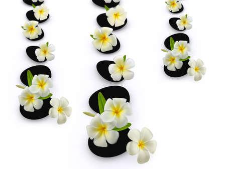 bali massage: zen stones with frangipani flower