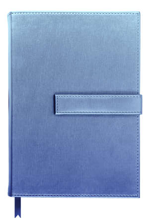 silk blue color cover note book in modern style isolated on white background Stock Photo - 10372218