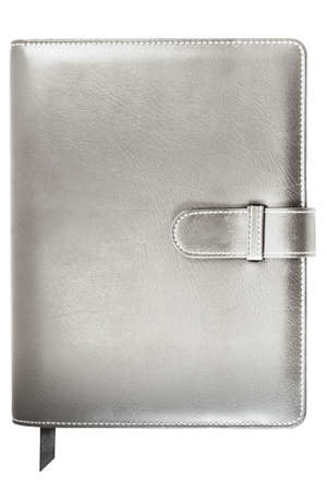 leather silver color cover note book in modern style isolated on white background Stock Photo - 10372220