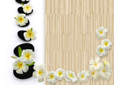 zen stones with frangipani flower and bamboo wood space photo