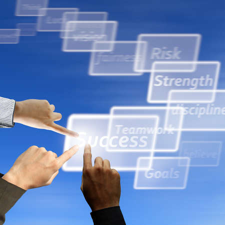 high key: Business team touch on success virtual button on moving background Stock Photo