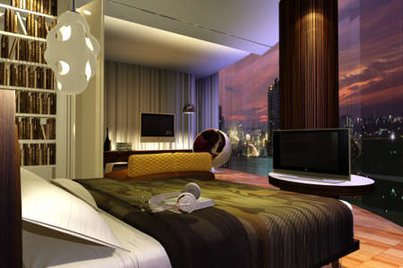 Interior of modern bedroom 3d render photo