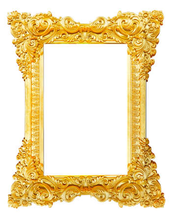 marco madera: Vintage marco de imagen de oro sobre fondo blanco