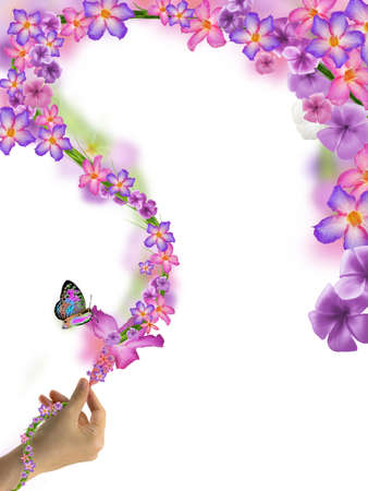 wonder woman hand hold flower spill many flowers and butterfly isolated on white background photo