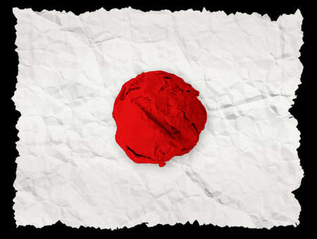 fractured: Red fabric crumpled on white crumpled paper as Japan Earthquake Commemorate,isolate on black background Stock Photo