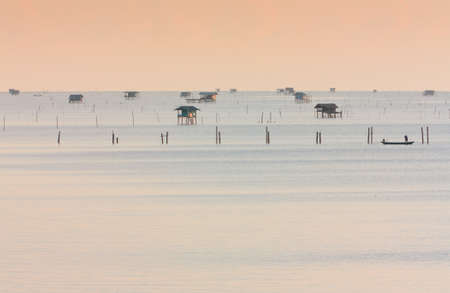 southern thailand: Native Asian fishery village in Southern Thailand,Morning time Stock Photo