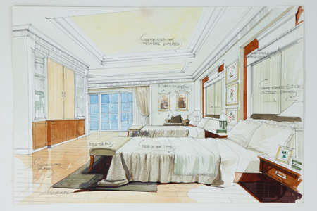 interior drawing: Ink pen and watercolor free hand sketch of an interior of a master bedroom Stock Photo