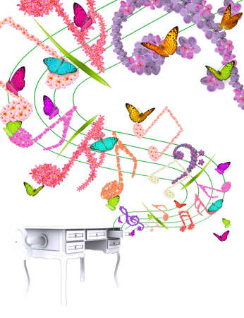 creative music note flowers and music table box design photo