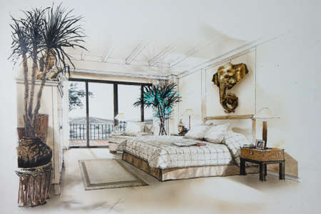 cozy: Ink pen and watercolor free hand sketch of an interior of a master bedroom Stock Photo