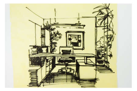 Ink pen free hand sketch of an interior of a study room photo