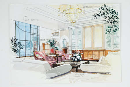 interior drawing: color pencil free hand sketch of an interior of a living room