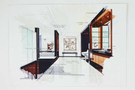 edred�n: Bosquejo de la pluma de tinta las manos libres del interior de una sala de estudio
