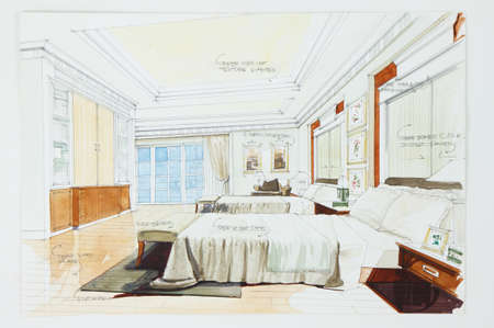watercolor pen: Ink pen and watercolor free hand sketch of an interior of a master bedroom Stock Photo
