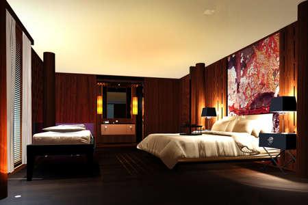 bedroom design: Interior of modern bedroom 3d render