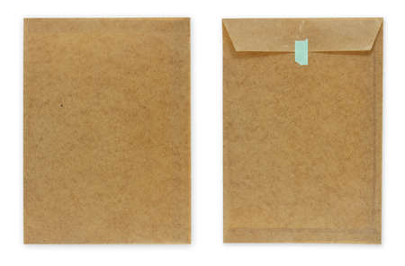 wax brown envelope document isolated on white background,blue tape photo