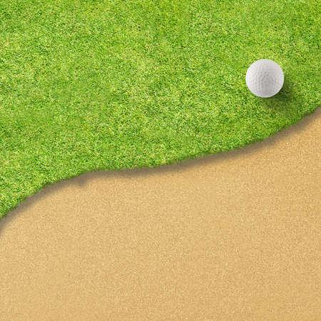 white Golf ball on green grass left side background photo