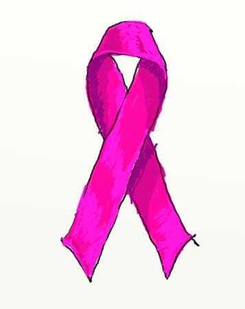 seni: Pink Ribbon Breast Cancer isolato su bianco