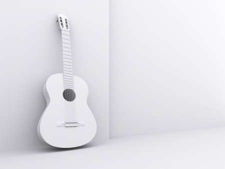 White Guitar lean on the wall white background.
