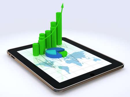 hoja de calculo: Tablet PC que muestra una hoja de c�lculo con unos gr�ficos en 3D