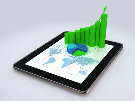 스프레드 시트: 일부 3D 차트와 스프레드 시트를 보여주는 컴퓨터 태블릿