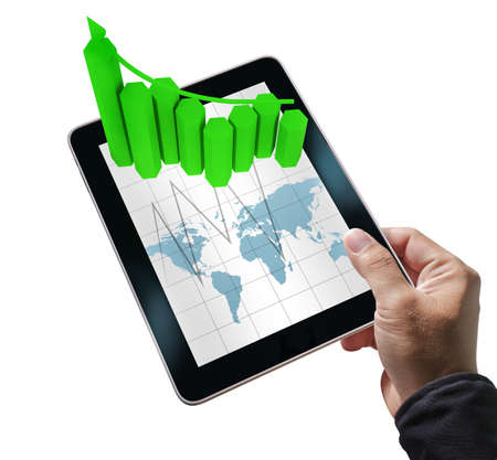 businessman hand hold tablet computer and virtual graph on white background Stock Photo - 10816936