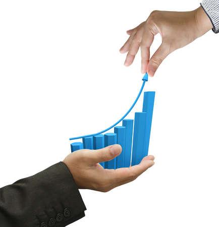 verhogen: vrouwelijke hand pick hoge pijl van de grafiek grafiek op een witte achtergrond Stockfoto