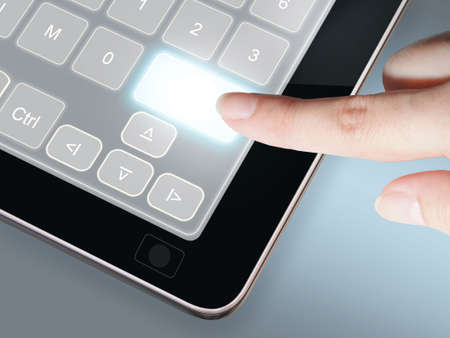 Hand pressing blank digital button on touch screen computer Stock Photo - 11321595
