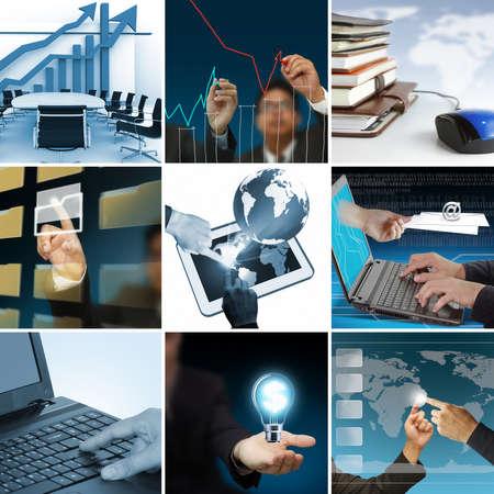 contabilidad: negocio collage de nueve fotos Foto de archivo