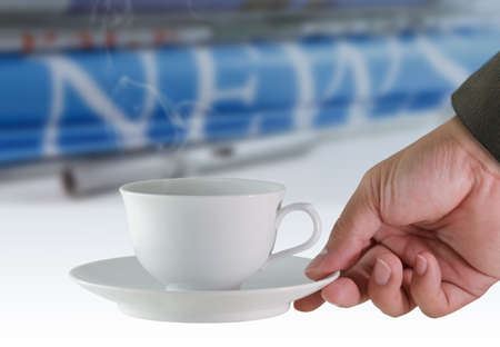 coffee cup and news paper background photo
