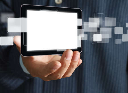 close up of business hand holds Touch screen mobile phone and buttons photo