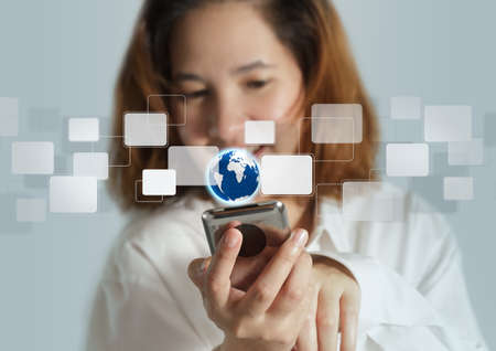 ring tones: businesswoman holding Touch screen mobile phone and buttons