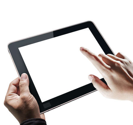 held: hands touch tablet computer isolated on white background