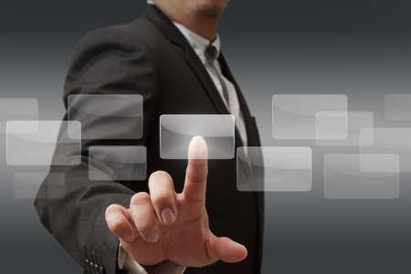 concept images: affari mano premendo il pulsante virtuale come concetto