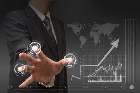 market trends: businessman hand with touch screen interface Stock Photo