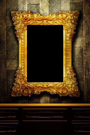 baroque furniture: Gallery display - vintage gold frames on an old timber wall