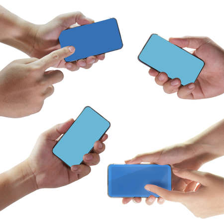 talk to the hand: hand hold mobile phone touch screen